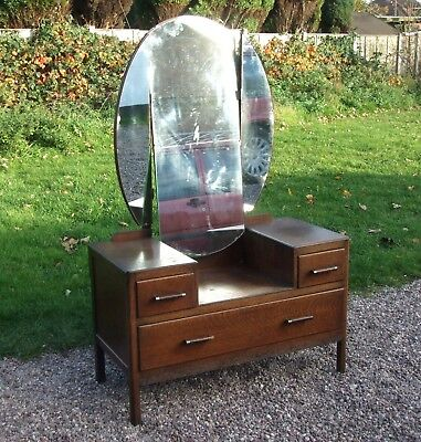 Vintage Oak Dressing Table ~ with Mirror & Drawers ~ for upcycling