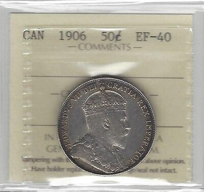 **1906**, ICCS Graded Canadian 50 Cent, **EF-40**