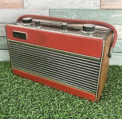 Vintage Retro 1970s Red Roberts RIC-2 Solid State Transistor Radio on Lazy Susan