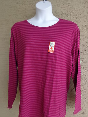 New Just My Size 2X  Essentials  L/s Crew Neck Striped Tee Top/  Shirt