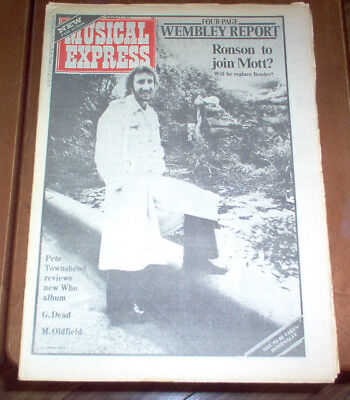 NME Magazine 1974 UK The Who Beatles George Harrison CSN&Y Jerry Garcia M Ronson