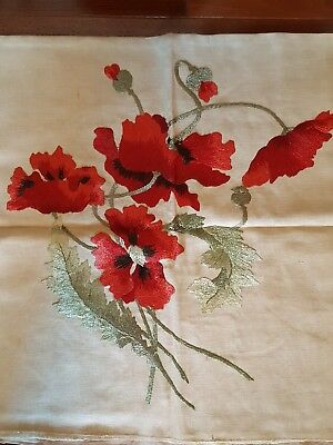 Fancy Work Embroidery Arts and Crafts Vintage Cushion Cover Poppy cloth poppies