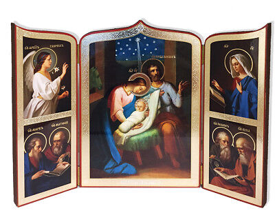 Nativity of Christ Saints Russian TRIPTYCH Icon Gold Foil Orthodox Catholic Gift