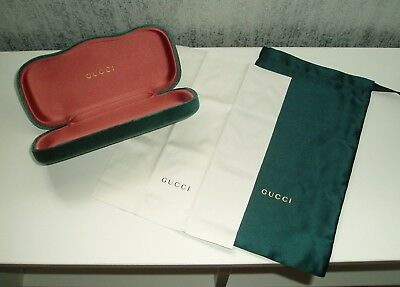 Gucci Glasses Case Velvet With Pouch & Cloth Cleaner - Dark Green - Brand New