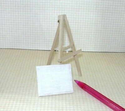 """Miniature Child's Natural Wood Easel (3 5/8"""" Tall) for DOLLHOUSE Playroom 1:12"""