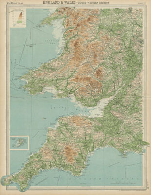 South west England & S Wales. Devon Cornwall West Midlands. TIMES 1922 old map