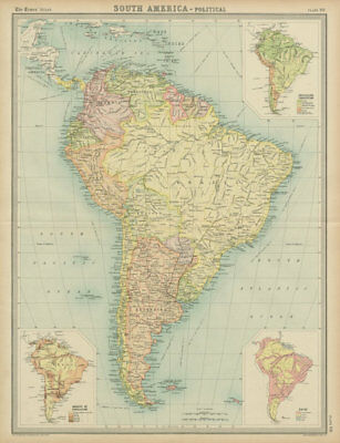 South America. Political. Ethnicity Races. THE TIMES 1922 old vintage map