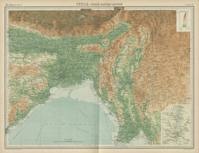 British India Ne Johnston 1906 Map Bengal Nepal Bhutan Calcutta Bangladesh