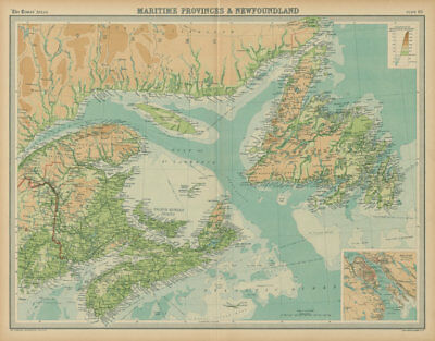 Canada Maritime Provinces & Newfoundland. Gulf of St Lawrence. TIMES 1922 map
