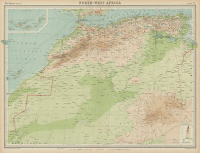 North-west Africa. Morocco &c. Sahara desert. Unresolved borders. TIMES 1922 map