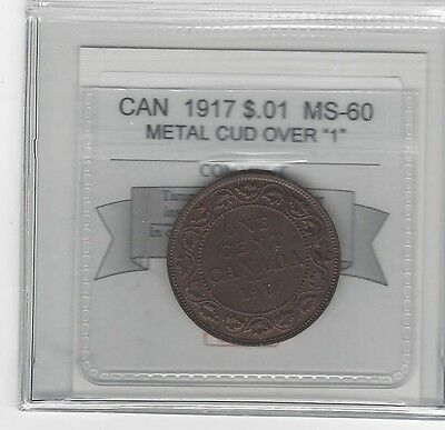 **1917**, Coin Mart Graded Canadian, Large One Cent, **MS-60**Metal Cud