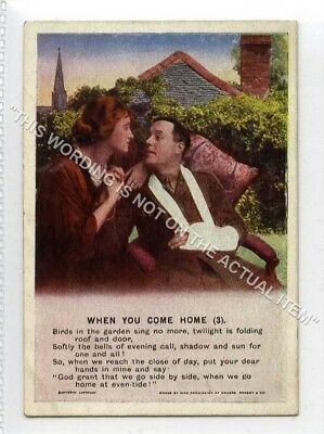 (Lf8344-513) Bamforth Mini Song Card, When You Come Home, #3, Unused G-VG