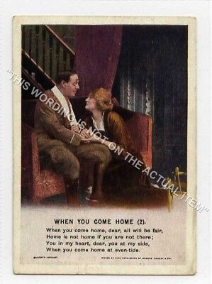 (Lf8346-513) Bamforth Mini Song Card, When You Come Home, #2, Unused G-VG