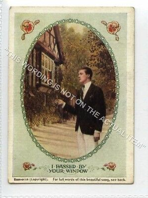 (Lf8352-513) Bamforth Mini Song Card, I Passed By Your Window, Unused G-VG