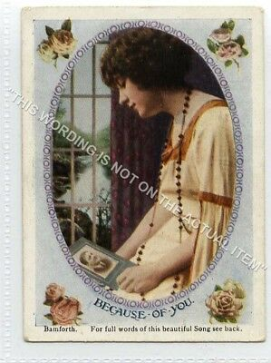 (Lf8353-513) Bamforth Mini Song Card, Because of You, Unused G-VG