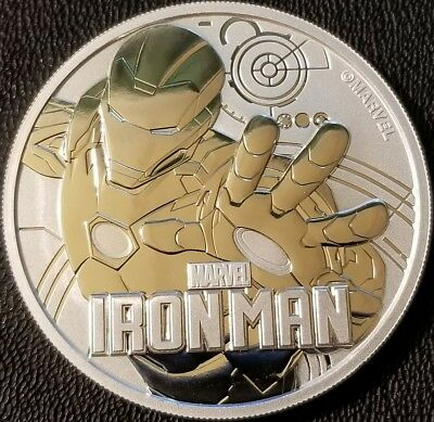 2018 Tuvalu Marvels Iron Man 1 oz .9999 Fine Silver Bullion - BU with Capsule