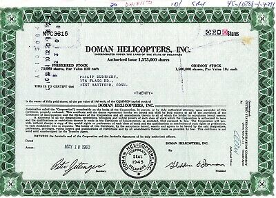 Doman Helicopters, Inc. 1960 Stock Certificate