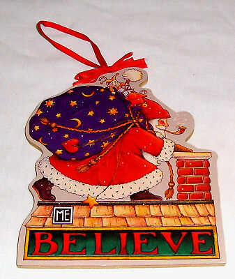 "BIG 5 1/4"" Mary Engelbreit Plywood Graphic Wood Santa BELIEVE Christmas Ornament"
