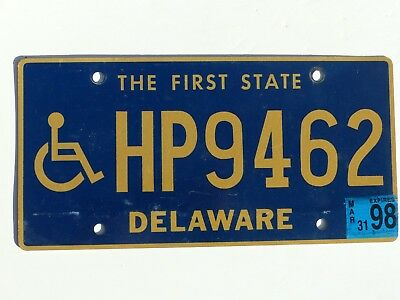 Nice Used 1998 Delaware Handicapped Person License Plate # HP9462 Wheelchair