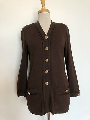 EUC Brown Santana Knit ST. JOHN COLLECTION by Marie Gray Tunic Jacket, size 2