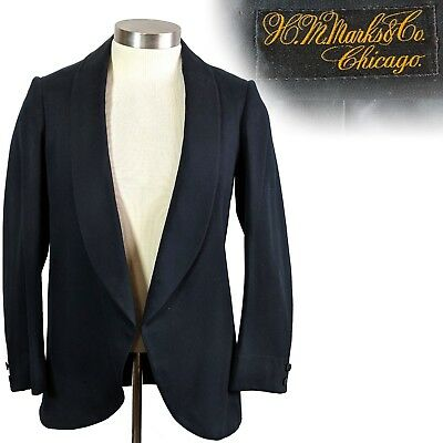 Vintage 1890s 1900s Shawl Collar Jacket H M Marks & Co Chicago 34