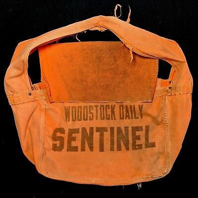 Vintage 1950s 1960s Woodstock Daily Sentinel Orange Cotton newspaper bag
