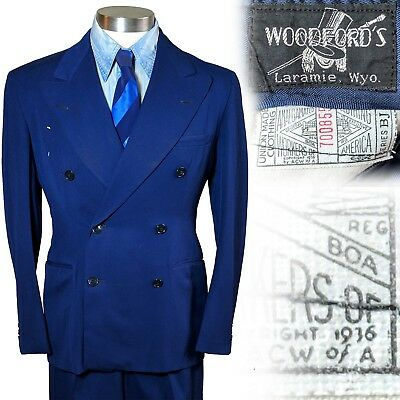 Vintage 1930s 1936-1939 Blue Double Breasted Mens Suit 34 36 27x31