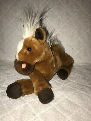 """Animal Alley Toys R US 18"""" Mustang Horse Pony Brown White hair Stuffed Toy"""