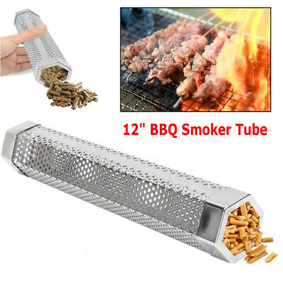 "12"" wood pellet smoker tube BBQ, stainless steel hot / cold smoking NIB"