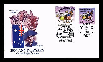 Dr Jim Stamps Us 200 Years Australia Combo First Day Cover 1988 Washington Dc