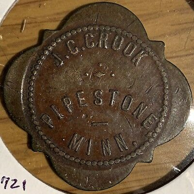 Minnesota, Pipestone, J. C. Crook Saloon Good For 5 Cent Token