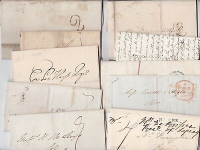 1811/48 10 PRE-STAMP LETTERS TO BRIGHTON FALKIRK BIGGLESWADE DEAL ABERDEEN  99p!
