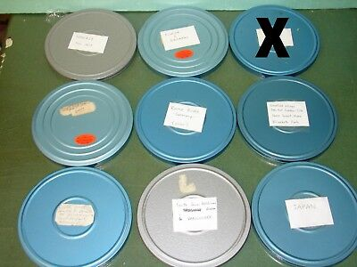 8 Vintage Metal 8mm Movie reels w/containers + movie stock (1960's home movies).