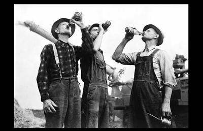 Farmers Drinking Beer PHOTO Old Milwaukee Beer, Great Depression Farm Art Pic