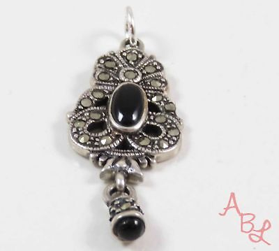 Sterling Silver 925 Filigree Black Onyx & Marcasite Pendant (3.9g) - 743706