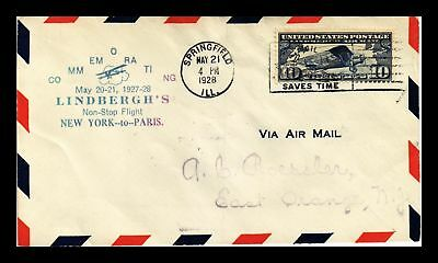 Dr Jim Stamps Us Springfield Lindbergh Flight Air Mail Cover 1928 New York