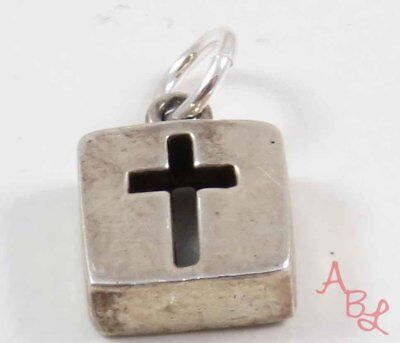 Sterling Silver Vintage 925 Cut Out Cross Charm Pendant (1.4g) - 743713