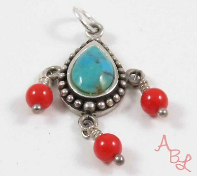 Barse Sterling Silver Vintage 925 Dangle Turquoise & Coral Pendant (3.3g) 743710
