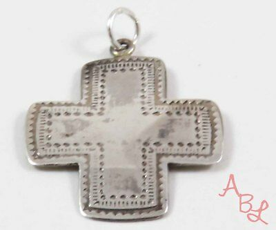 Sterling Silver Vintage 925 Etched Religious Cross Pendant (2.2g) - 743727