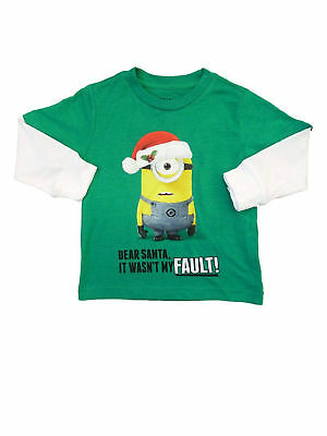 Toddler Boys Minions Dear Santa Christmas Shirt - Long Sleeve Green