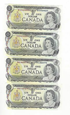 **1973**Canada $1 Note Crow/Bouey #BFK/ECK/BAL/AMS BC-46b (4 Different Prefix)