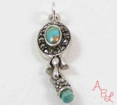 Sterling Silver Vintage 925 Dangle Turquoise & Marcasite Pendant (3.6g) - 743705