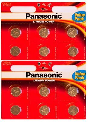 Panasonic 3 Volts  CR 2032 Lithium Coin Battery - Pack of 12
