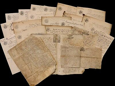 GRAND LOT COLLECTION OF 20+ ANTIQUE VELLUM AND PAPER DOCUMENTS 1600-1800s