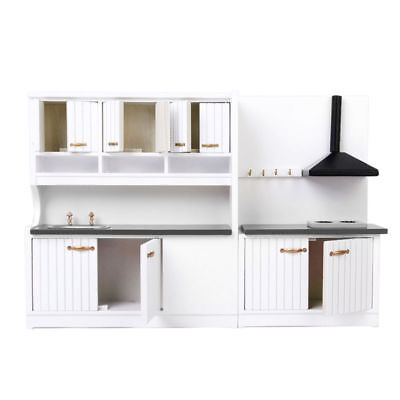 Dolls House Kitchen Miniature Furniture Kid Play Toy Stove Cabinet Cupboard Set