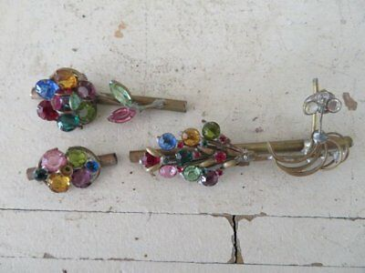 FABULOUS 3 OLD Salvaged Metal Decor Pieces with Colored RHINESTONES Prong Set