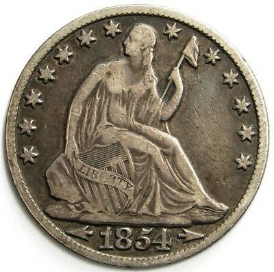 1854-O Seated Liberty Half Dollar, Arrows at Date - 50c Silver