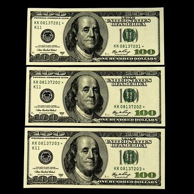 Series 2006-A $100 FRN STAR Notes, 3 Consecutive S/Ns - Crisp UNC - FR# 2182-K*