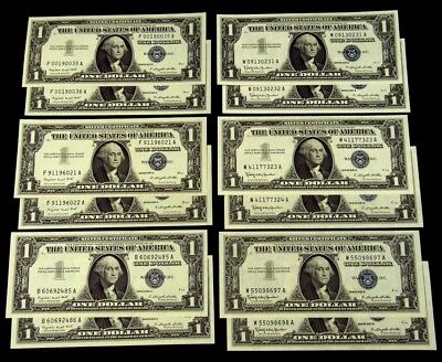 6 Pairs of Consecutive S/N $1 Silver Certs - Crisp AU or Better - 12 Notes