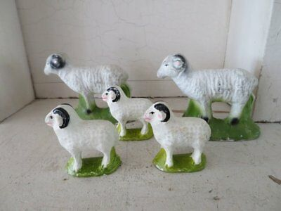 5 FABULOUS Old Vintage WHITE SHEEP with HORNS Baby Lamb Different Sizes Chalk